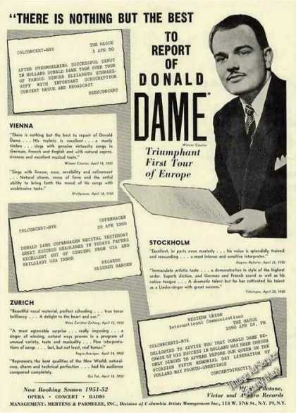 Donald Dame Photo Opera/concerts Trade (1951)