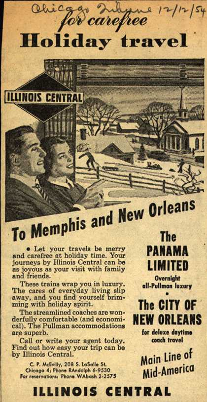 Illinois Central Railroad's various – For Carefree Holiday Travel To Memphis and New Orleans (1954)