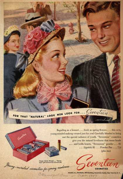 "Jeurelle's Seventeen Cosmetics – For That ""Natural"" Look Men Look For...Seventeen (1947)"