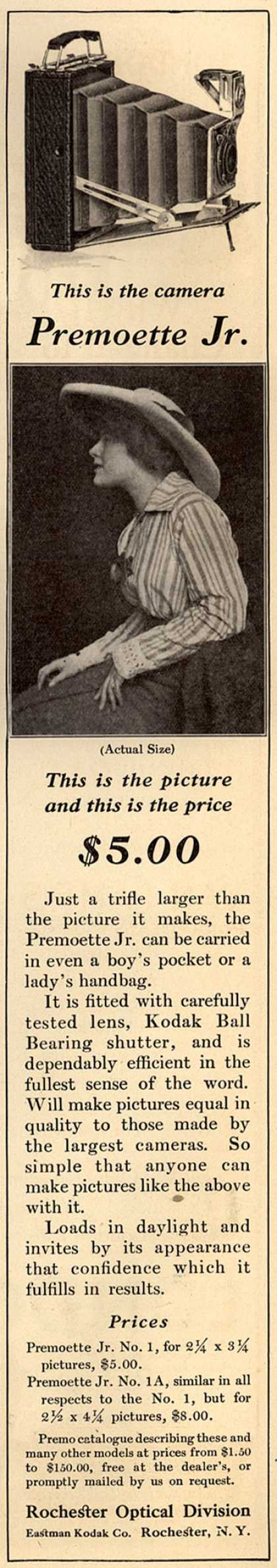 Kodak's Premoette Jr. cameras – This is the camera Premoette Jr. This is the picture and this is the price $5.00 (1915)