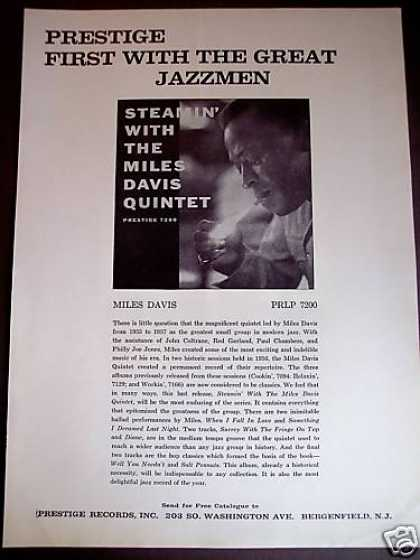 Steamin' the Miles Davis Quintet Record Promo (1961)