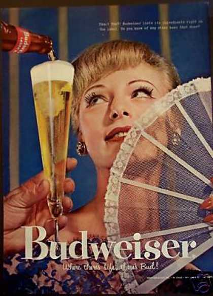 Woman With Fan Photo Budweiser Beer Bud (1957)