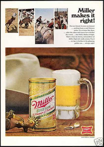 Rodeo Cowboy Hat Spurs Bull Miller Beer (1968)