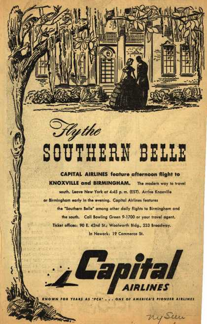 Capital Airline's Knoxville and Birmingham – Fly the Southern Belle (1947)