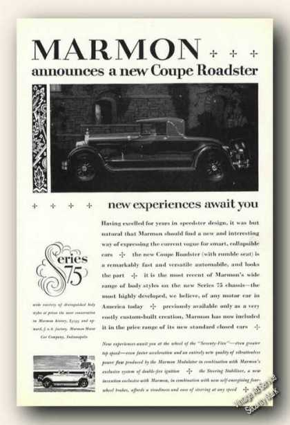 Marmon a New Coupe Roadster Photo Antique (1926)