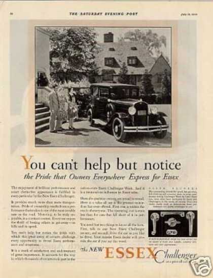"Essex Challenger Car Ad ""You Can't Help... (1930)"