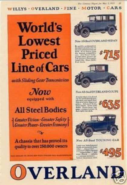 Willys-overland Cars Color Ad 3 Models (1925)