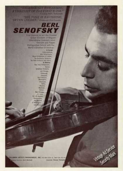 Berl Senofsky Photo Violin Booking (1961)