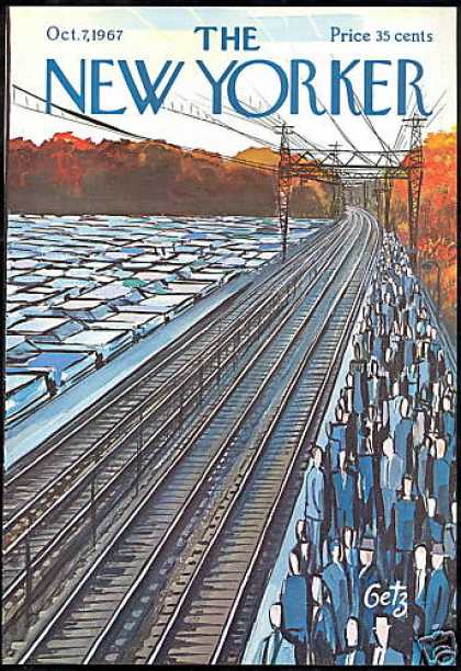 Arthur Getz Railroad Train Track New Yorker Cover (1967)