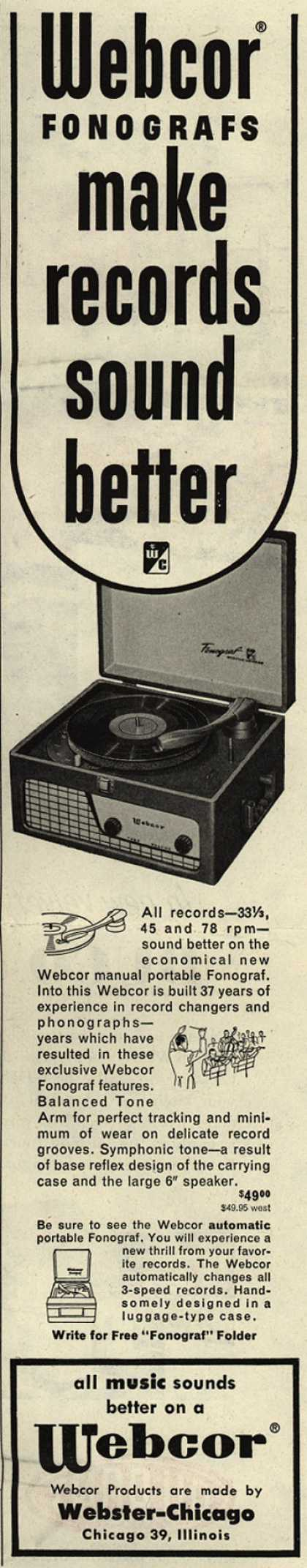 Webster-Chicago Corporation's Fonograf – Webcor Fonografs make records sound better (1952)