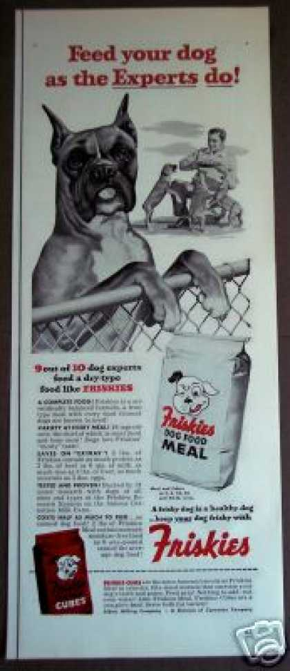 Boxer Dog Art Friskies Pet Food (1953)