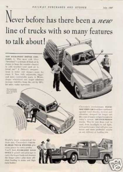 Chevrolet Trucks Ad 2 Page (1947)