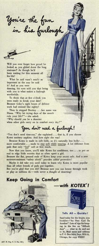 Kotex Company's Sanitary Napkins – You're the fun in his furlough (1942)