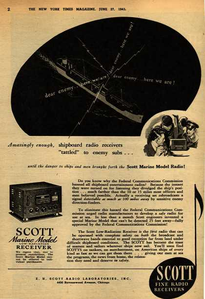 "E.H. Scott Radio Laboratorie's Radio – Amazingly enough, shipboard radio receivers ""tattled"" to enemy subs... (1943)"