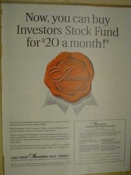 Investors Diversified Services Buy stock fund for $20 per month (1965)