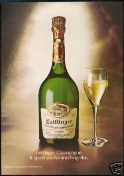 Taittinger Champagne Bottle 1969 Vintage Label (1978)
