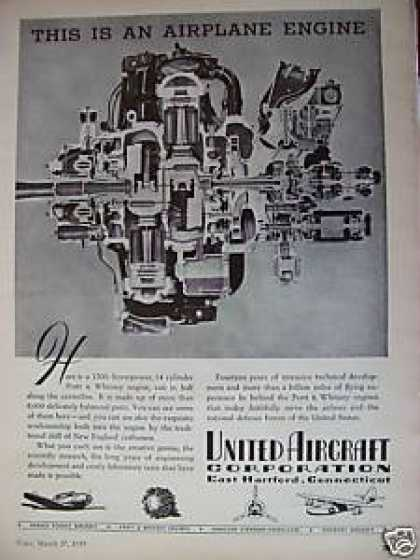 United Aircraft Corp Airplane Engine (1939)