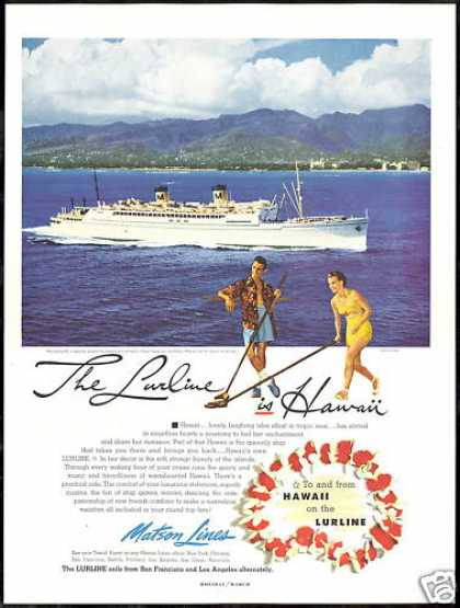 Matson Lines Cruise Ship Lurline Hawaii Photo (1952)