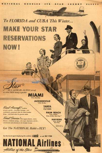 National Airline's Florida and Cuba – MAKE YOUR STAR RESERVATIONS NOW (1952)