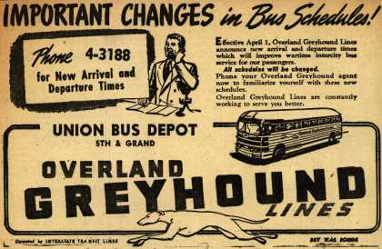 Interstate Transit Lines (Overland Greyhound) – Important Changes in Bus Schedules (1945)