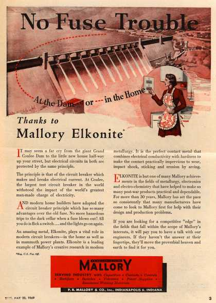 P.R. Mallory Company, Incorporated's Circuit Breakers – No Fuse Trouble At the Dam or in the Home. Thanks to Mallory Elkonite. (1949)