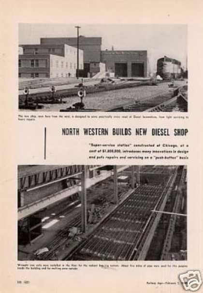 """C&nw Builds New Diesel Shop"" Article/chicago (1949)"