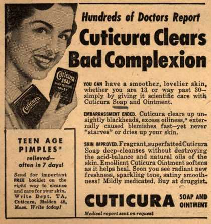 Cuticura – Hundreds of Doctors Report Cuticura Clears Bad Complexion (1953)