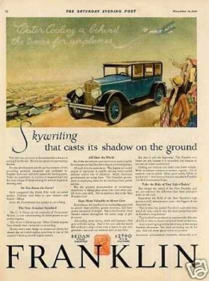 "Franklin Car Color Ad ""Skywriting That Casts... (1927)"
