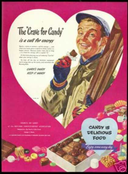 Snow Ski Skier Grant Art Candy Confectioners (1947)