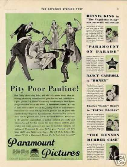 "Paramount Pictures Ad ""Pity Poor Pauline"" (1930)"