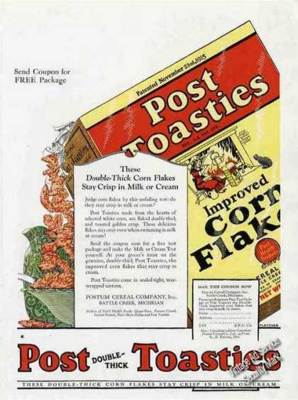 Post Toasties Improved Corn Flakes Antique (1924)