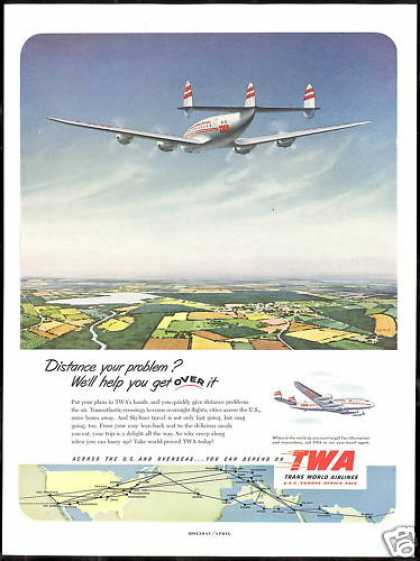 TWA Airlines Constellation Airplane System Map (1952)