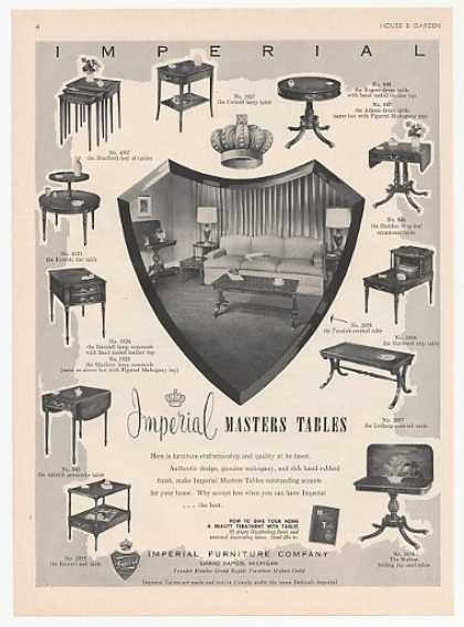 Imperial Furniture Masters Tables 11 Styles (1952)