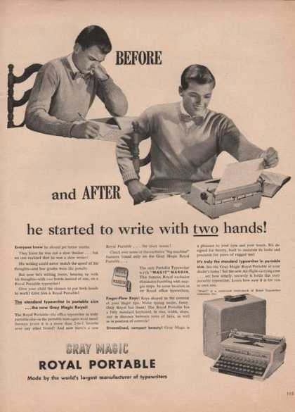 Gray Magic Royal Portable Typewriter (1949)