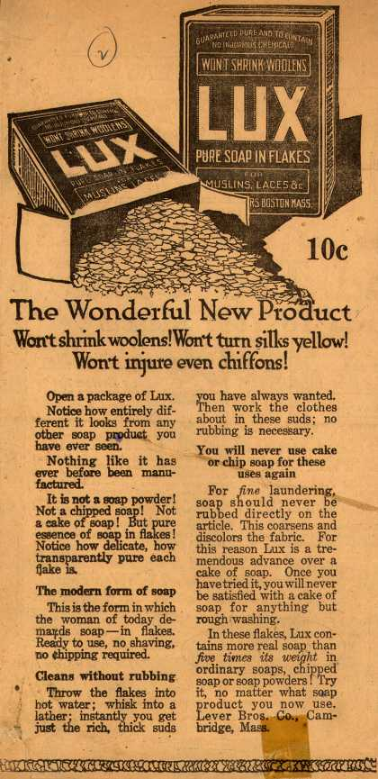 Lever Bros.'s Lux (laundry flakes) – The Wonderful New Product (1916)