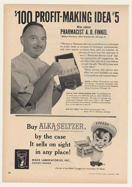 Pharmacist A D Finkel Speedy Alka-Seltzer Trade (1957)