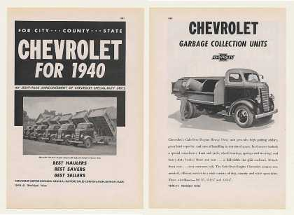 Chevy Garbage Plow Fire Street Truck Bus Car 8P (1940)