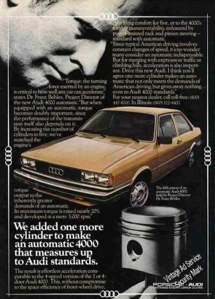 "Audi 4000 Photo ""One More Cylinder"" Car (1981)"