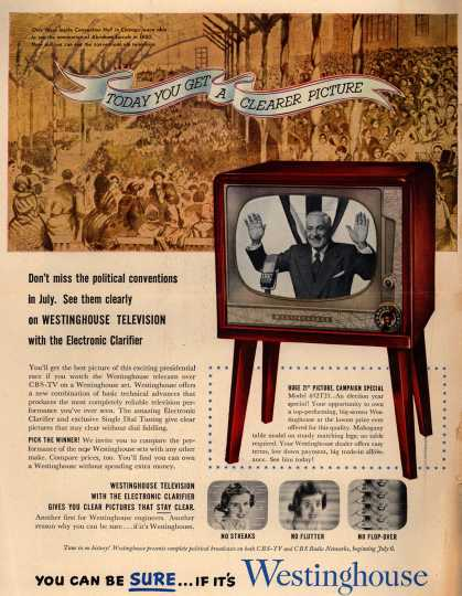 Westinghouse Electric Corporation's Television – Don't miss the political conventions in July. See them clearly on Westinghouse Television (1952)