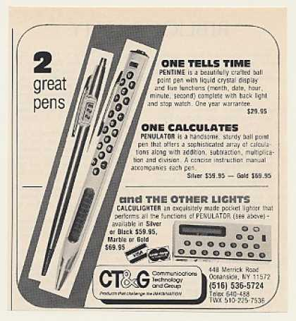 CT&G Pentime Penulator Calculator Pens (1980)