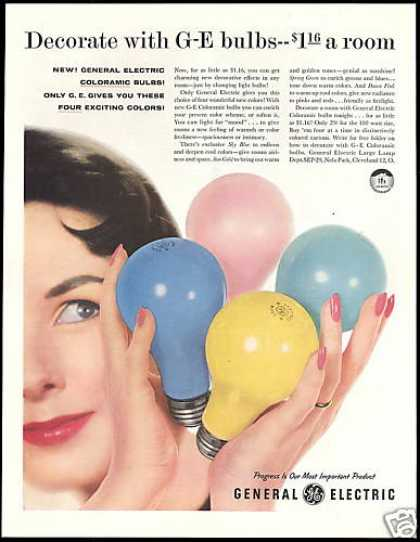 GE General Electric Coloramic Light Bulbs Photo (1957)