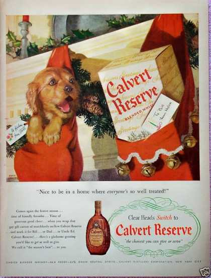 Calvert Whiskey Cocker Puppy Christmas Stocking (1948)