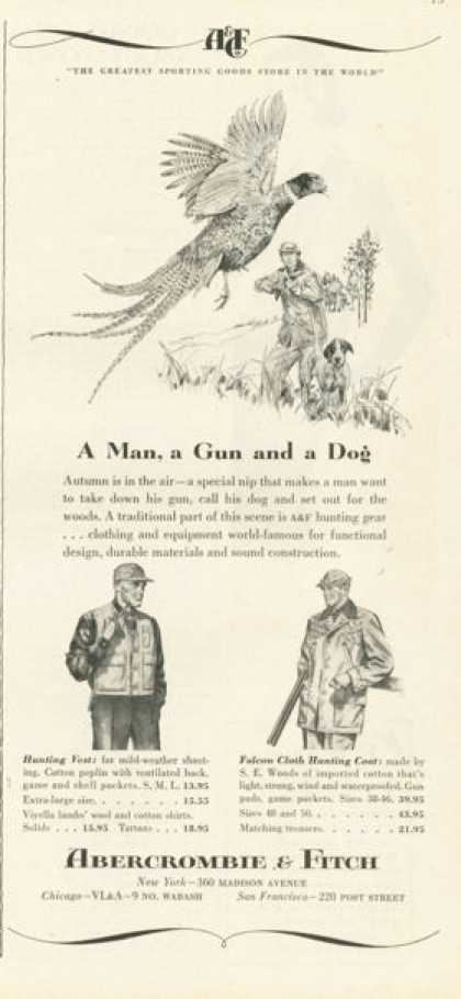 Abercrombie & Fitch Ad Hunting Gun Dog Pheasant (1958)