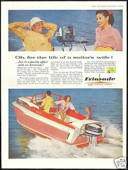 Evinrude Outboard Boat Motor Sailors Wife Photo (1957)