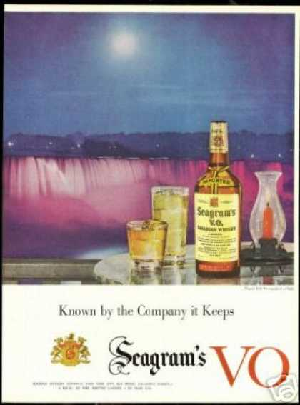 Niagara Falls Night Photo Seagram's VO Whisky (1955)