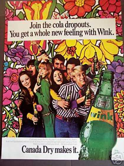 Canada Dry Wink Soda Hippie Flower Art (1967)