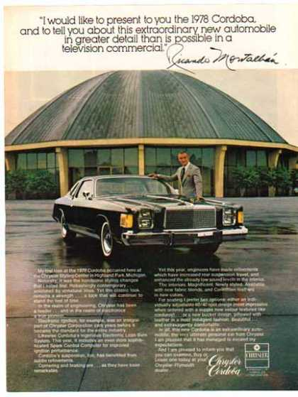 Chrysler Cordoba Car – Ricardo Montalban – Sold (1977)