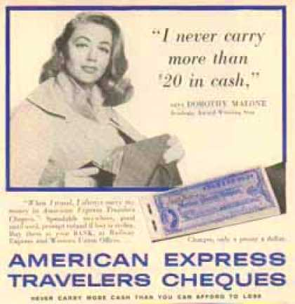 American Express Travelers Cheques – Dorothy Malone (1958)