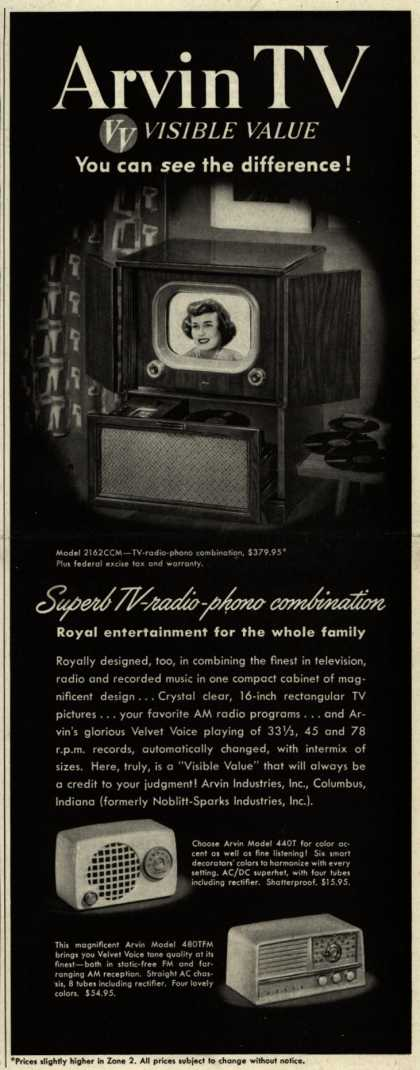 Arvin Industrie's Television Combinations – Arvin TV. VV, Visible Value. You Can See the Difference (1951)