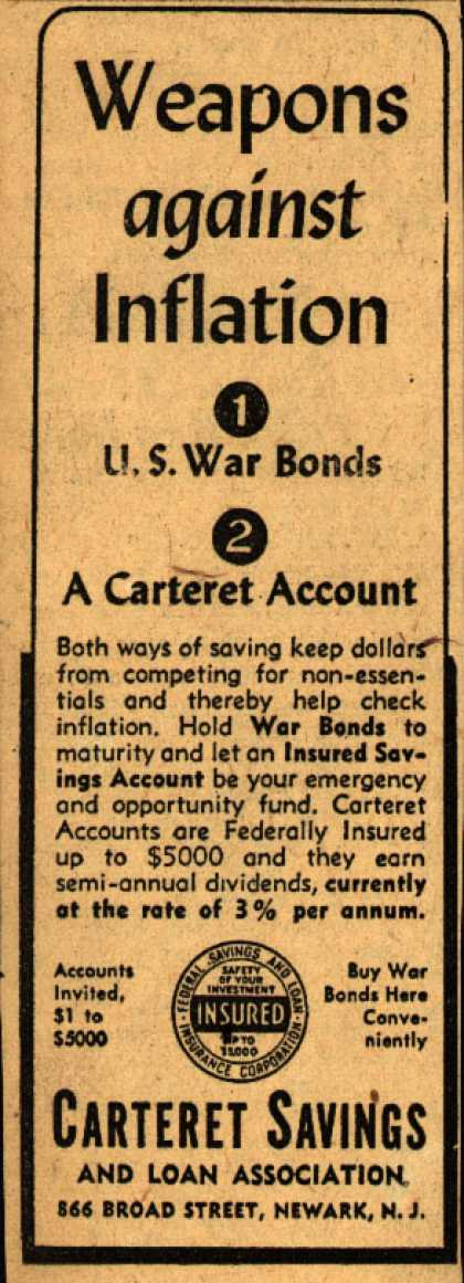 Carteret Savings and Loan Association's Anti-inflation – Weapons against inflation (1943)